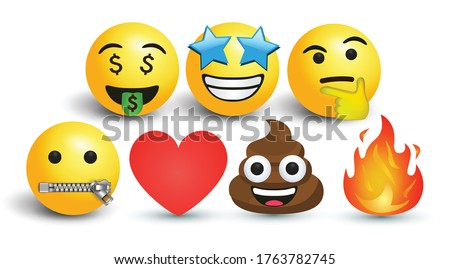 yellow vector round yellow cartoon bubble emoticons social media Facebook Instagram Whatsapp chat comment reactions, icon template face money zip, thinking fire star love heart emoji character message