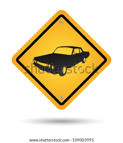 yellow vintage car road sign