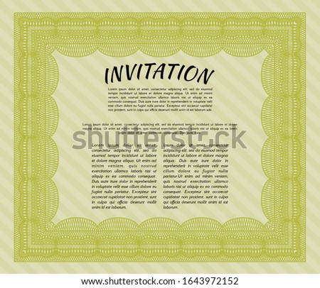Yellow Vintage invitation. Complex background. Sophisticated design. Customizable, Easy to edit and change colors.