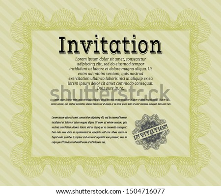 Yellow Vintage invitation. Customizable, Easy to edit and change colors. With complex linear background. Elegant design.