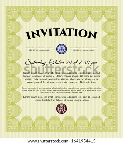 Yellow Vintage invitation template. Complex background. Artistry design. Customizable, Easy to edit and change colors.