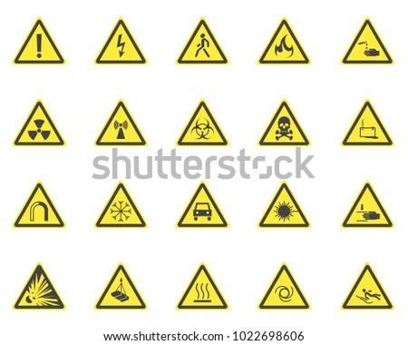 yellow warning hazard signs set