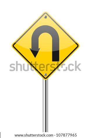Yellow warning sign u-turn road sign on white background