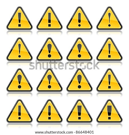 Yellow warning sign with exclamation mark symbol. Rounded triangle shape with color reflection on white background. 10 eps