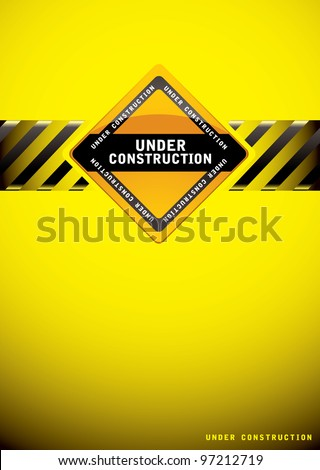 Yellow warning under construction background with sign and hash banner