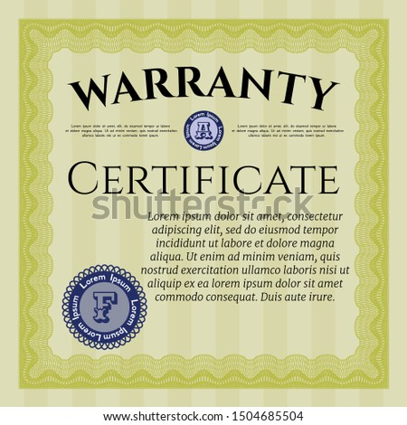 Yellow Warranty Certificate template. With linear background. Customizable, Easy to edit and change colors. Good design.