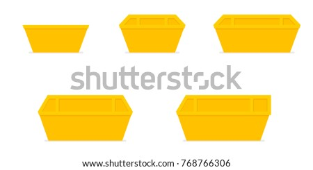 yellow waste skip bin icon set