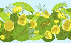 Yellow water Lily flowers and leaves, nuphar lutea,dragonflies and frogs, pond and lake plants and animals, seamless vector illustration
