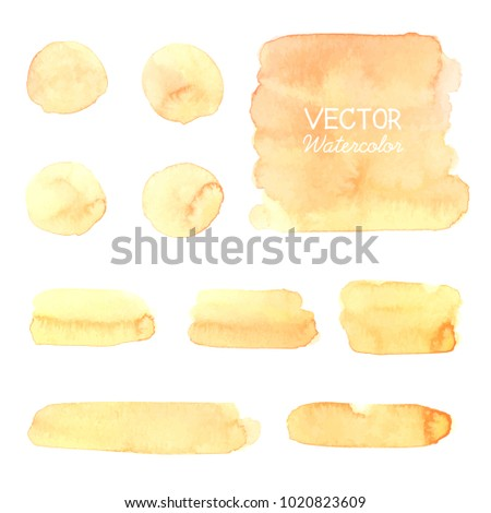 Yellow watercolor brush strokes.vector brush strokes