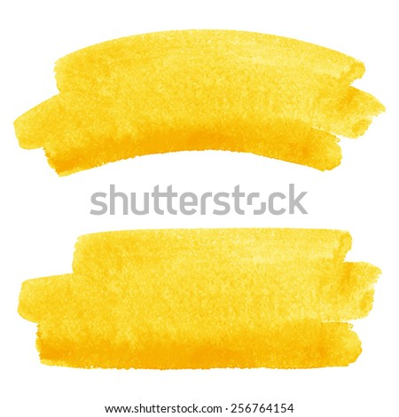 yellow watercolor vector brush