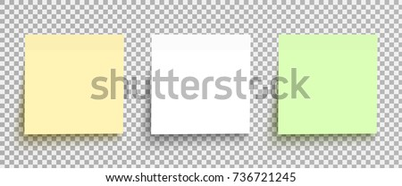 Yellow, white and green sticky notes isolated on a transparent background. Vector post element template set ready for your design, eps10