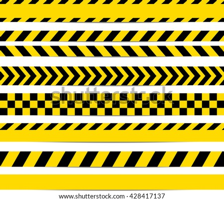Shutterstock Yellow with black police line and danger tapes. Vector