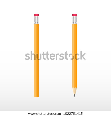 Yellow wooden pencils, classic yellow vector pencil.