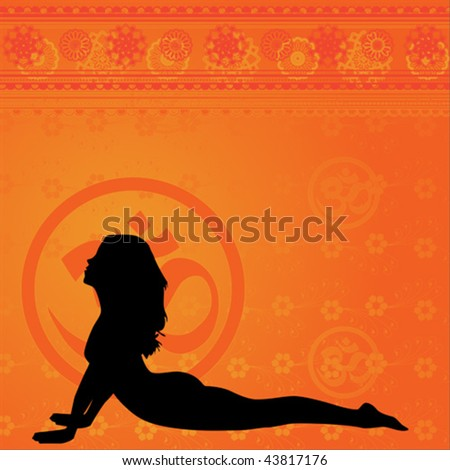 Yellow yoga and meditation background with floral elements