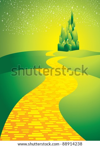 yellowbrick road leading to emerald city - stock vector
