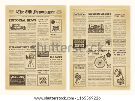 Yellowed realistic newspaper pages in vintage design with headers of different font vector illustration ストックフォト ©