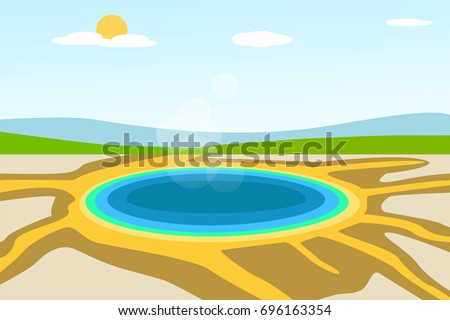yellowstone lake landscape in