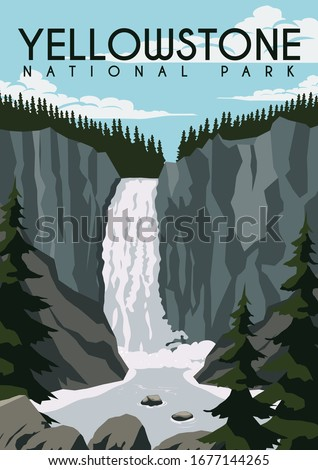 Yellowstone Vector Illustration Background. Travel to Yellowstone National Park United State of America. Flat Cartoon Vector Illustration in Colored Style. ストックフォト ©