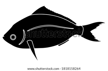 Yellowtail Fusilier or Caesio teres fish silhouette on white background illustration EPS10. Foto stock ©