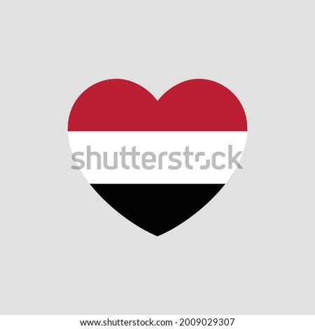 Yemen flag in heart shape vector love Yemen