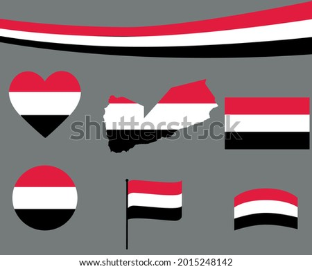 Yemen Flag Map Ribbon And Heart Icons Vector Illustration Abstract National Emblem Design Elements collection