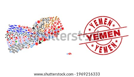 Yemen map collage and scratched Yemen red round stamp imitation. Yemen badge uses vector lines and arcs. Yemen map collage contains helmets, homes, screwdrivers, suns, wine glasses, and more icons. Stock fotó ©