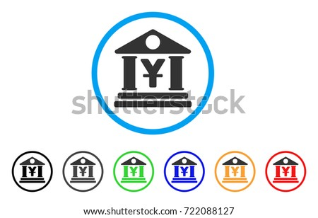 Yen Bank Building rounded icon. Style is a flat yen bank building gray symbol inside light blue circle with black, gray, green, blue, red, orange versions.