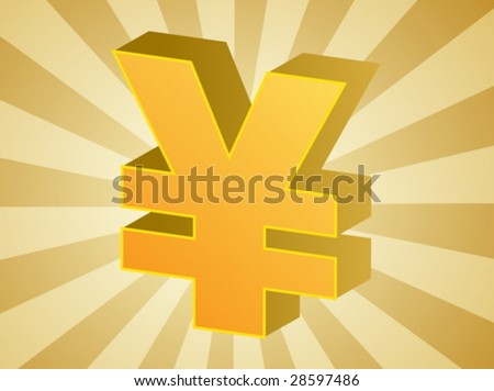 Yen currency japanese money symbol isometric illustration - stock vector