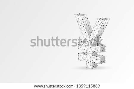 Yen currency sign, digital origami 3d illustration. Polygonal Vector Japanese money symbol. Business, data cash, finance concept. Low poly wireframe, triangle, lines, dots, polygons. White background