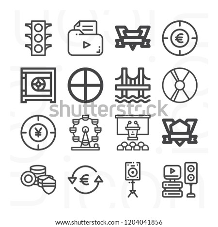 Yen, euro, money, conference, traffic lights, safebox, ferris wheel, bridge, badge, target icon set suitable for info graphics, websites and print media and interfaces