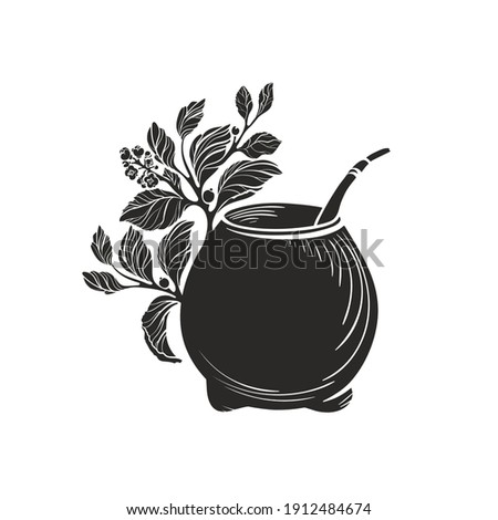 Yerba mate with calabash bowl. Black symbol. Vector shape of nature branch, leaves, texture cup. Art illustration isolated on white background. Healthy traditional tea drink Stockfoto ©