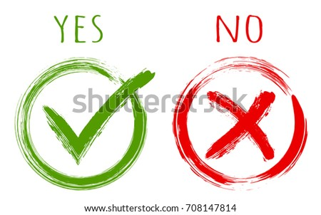 YES and NO acceptance and rejection signs, vector checkmarks in circle boxes. Green brush symbolic OK and red X icon isolated on white, approval check marks. Tick and cross signs, checkmarks design.