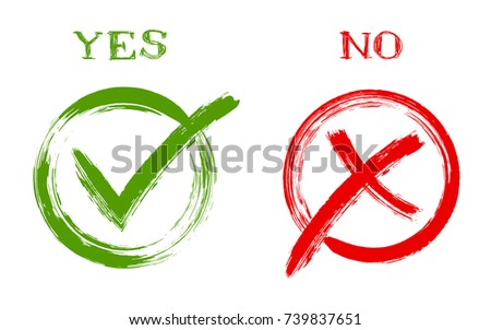 YES and NO approval and rejection signs, vector test  choice checkmarks. Round box frames. Green OK and red X symbol icons isolated on white. Tick and cross signs, quiz or test check marks design.