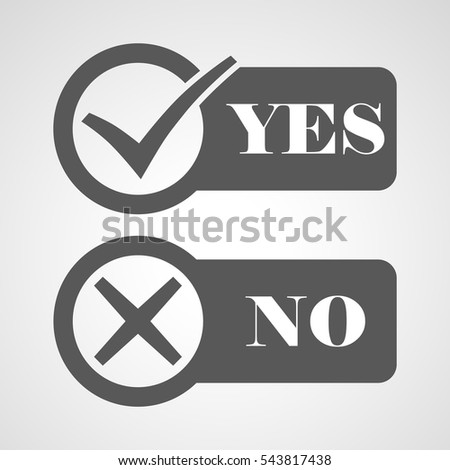 Yes and No check marks. Vector illustration. Gray check marks in circles on a white background.