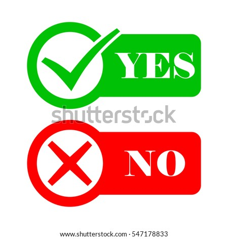 Yes and No check marks. Vector illustration. Red and green check marks in circles on a white background.