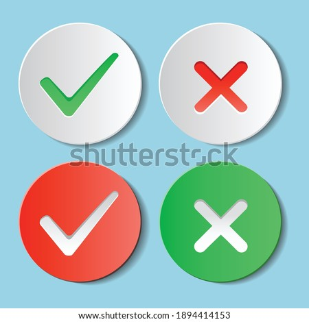 Yes and No Checkmarks on Circle Vector  Foto stock ©