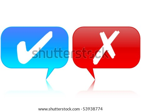 yes and no on chat-box - stock vector