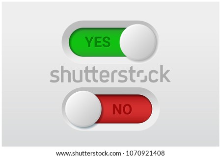 Yes and No toggle switch buttons isolated on white background , vector , illustration