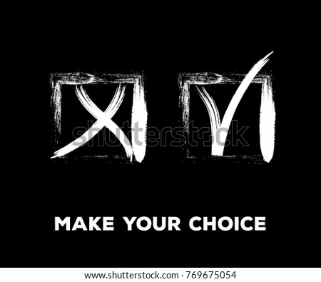 Yes and No Vector Set Square Frames, Isolated.  Grunge Graffiti Check, Quizz, Voting Symbol Design. Ink Rejection and Acceptance, Query Choice Icons. Yes and No Tick and Cross Symbolic Marks.