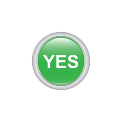 Yes button icon. Vector design isolated on white background. Green button icon.
