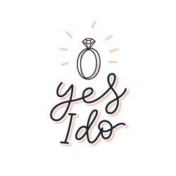 Yes I do bridal sign. Marriage proposal print for card, invitation, poster, t-shirt. Simple line hand drawn lettering illustration. Cute vector design for bride / groom / wedding.