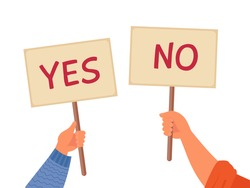 Yes no banner. Isolated text placard, hands hold right wrong message. Idea or choice, correct and incorrect dialog mark decent vector concept
