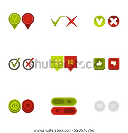 yes no choice icons set flat