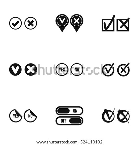 Yes no choice icons set. Simple illustration of 9 yes no choice vector icons for web