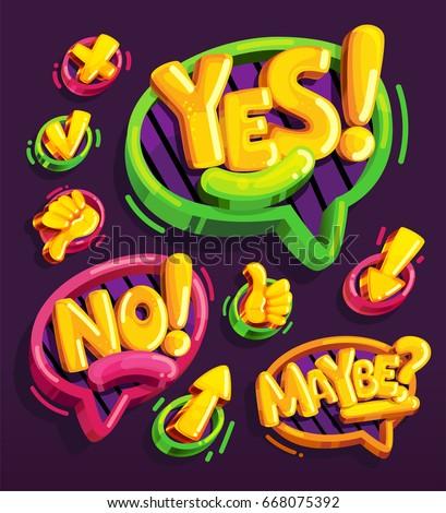 yes  no  maybe icon cartoon set