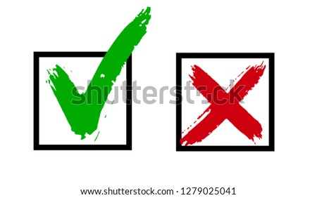 Yes, No simbols. Hand drawn vectorized brush texture icons, True or faulse, right or wrong, agree or disagree Vector objects