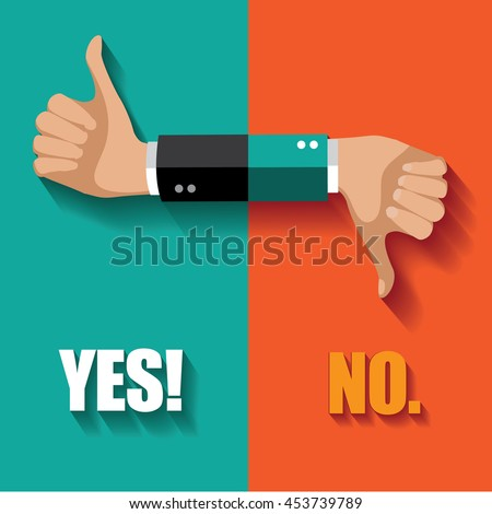 Yes no thumbs up and down flat design. EPS 10 vector.