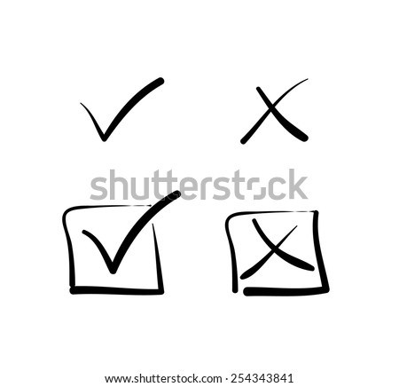 yes no tick cross box signs