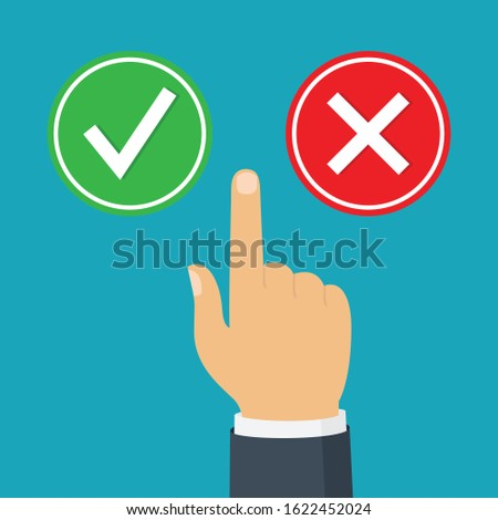 Yes or no buttons like dilemma. The concept of choice, the right choice and a wrong decision. Flat design vector illustration