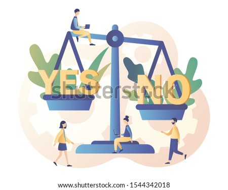 Yes or no consept. Decision making. Tiny people weigh the decisions at high weights. Modern flat cartoon style. Vector illustration